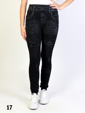 High Waist Denim Style Stretchy Legging (Fleece Lined)