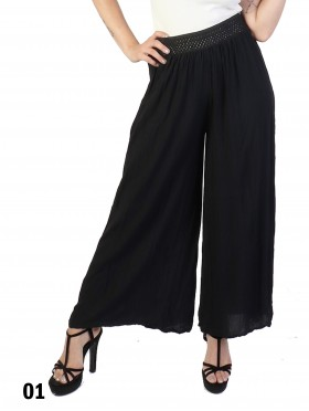 Solid Color Wide-Leg Full-length Pants