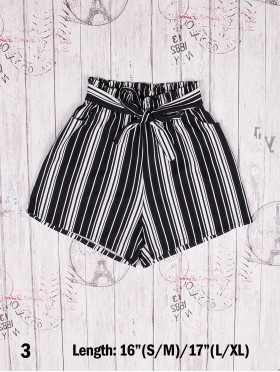 Striped Shorts w/ Front Tie