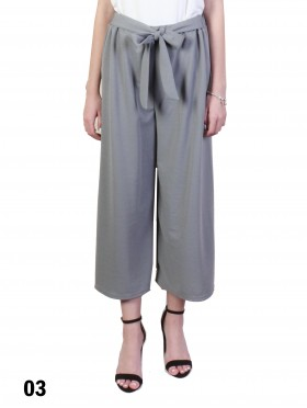 Solid Color Wide-Leg Cropped Pants W/ Tie Belt