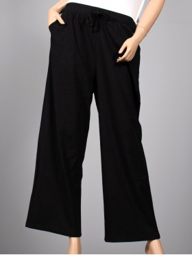 Cotton and Linen Wide-Legged Pants W/ Elastic Waistline