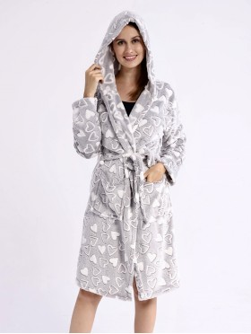 Hearts Print House Robe w/ Pockets and Waist Tie