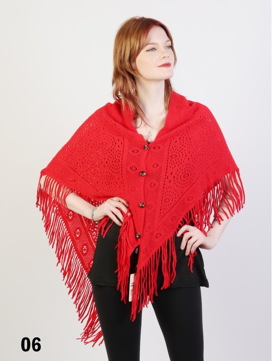 Cardigan Wrap W/ Buttons & Fringes