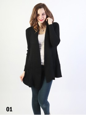 Mercerized Pleated Cotton Cardigan