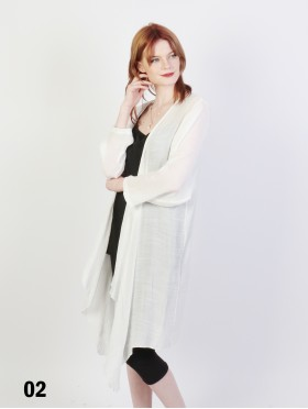 Solid Long-Sleeved Maxi Cardigan