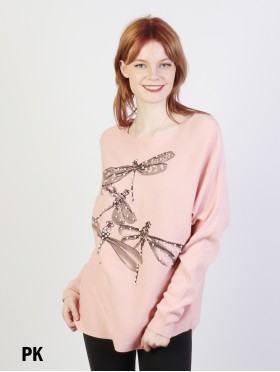 Dragonfly Print Bat Sleeve Top With Pearl