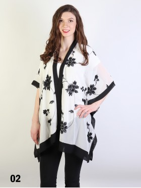 Black And White Floral Embroidery Kimono