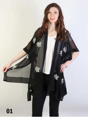 Maple Leaves Embroidery Kimono