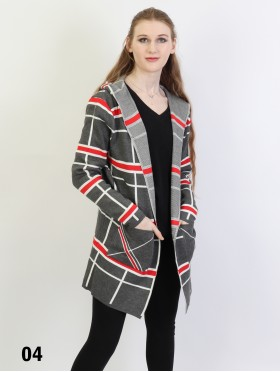 Plaid Open-Front Sweater Jacket W/ Pockets and Hood
