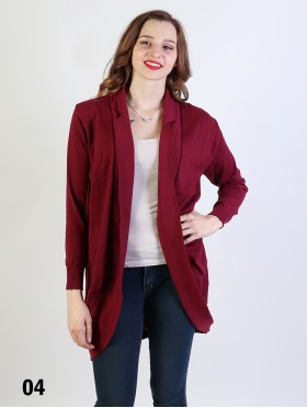 Solid Color Open-Front Cardigan