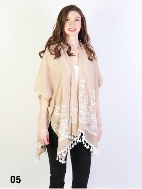 Kimono/ Paisley mesh embroidery