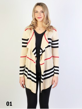 Stripes Design Open-Front Cardigan
