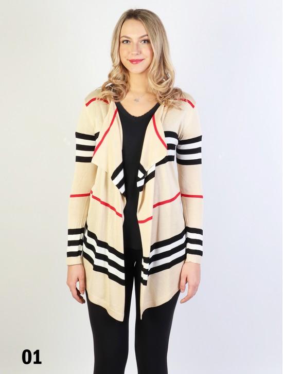 Strips Design Open-Front Cardigan