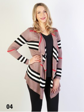 Strips Design Open-Front Cardigan