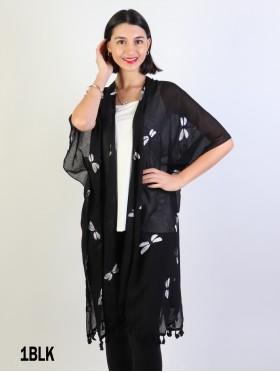 OversizedDragonfly Kimono W/ Tassels