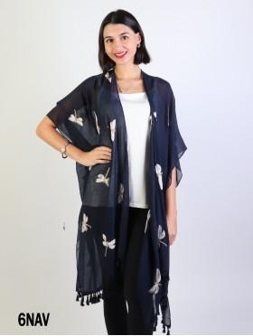 Oversized Dragonfly Kimono W/ Tassels