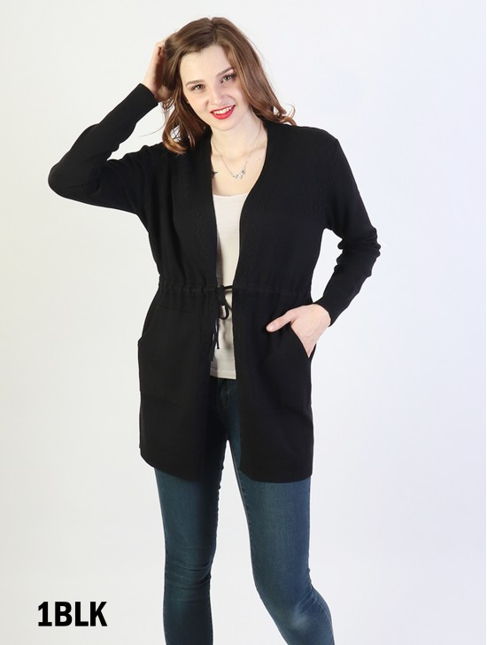 Open-Front Sweater W/ Front Tie & Pockets