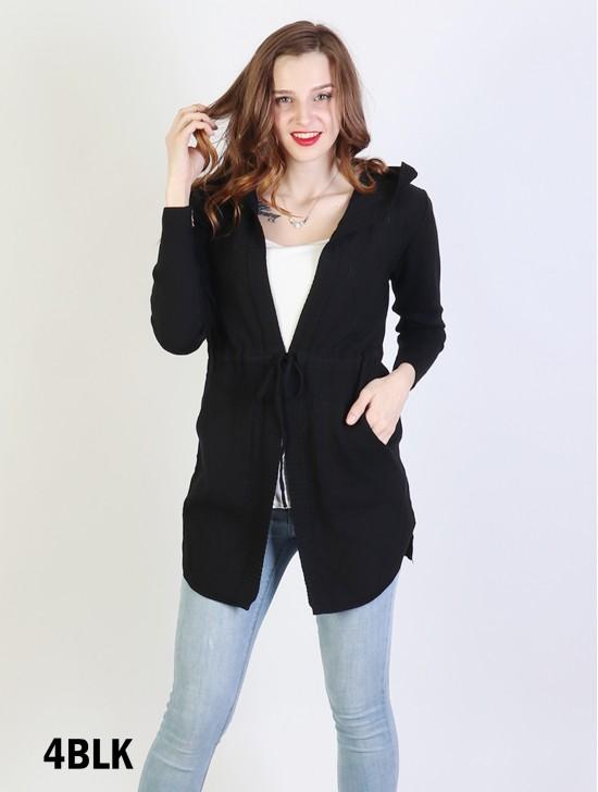 Open-Front Sweater W/ Pockets & Hood