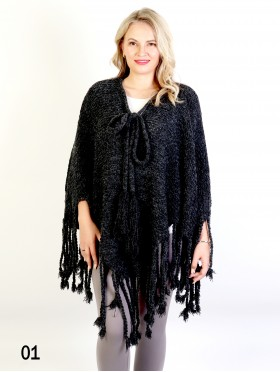 Cozy Poncho W/ Bow and Tassels