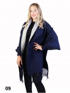 Cashmere Feeling Open-Front Cape W/Sleeves