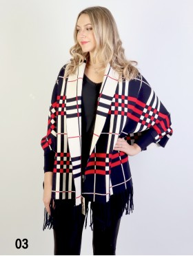 Cashmere Feeling Reversible Plaid Open-front Cape