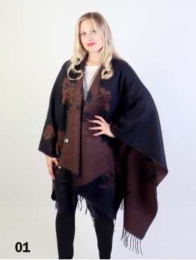 Two Tone Floral Print Cape W/Fringes
