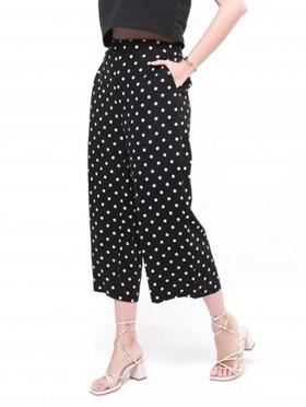 Comfort Wide-Leg Cropped Pants W/ Pockets & Tie Belt