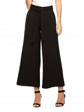 Black Wide-Leg Cropped Pants W/ Belt and Pocket