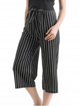 Wide-Leg Cropped Pants W/ Tie Belt