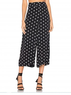 Polka Dot Wide Leg Crop Pants W/ Tie Belt