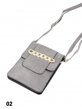 Faux Leather Cellphone Holder & Mini Purse W/ Chains