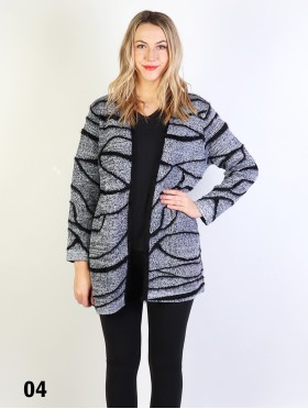 Faux Mohair Zebra Printed Open Front Sweater
