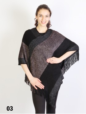 Speckled Striped Poncho W/Fringes