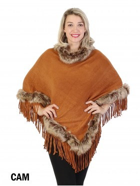Poncho W/ Brown Fur Trim and Tassels