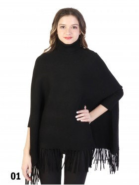 Solid Colour Turtleneck Poncho W/ Fringes