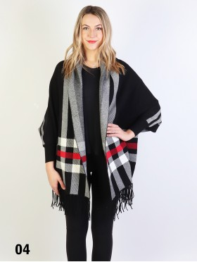 Cashmere Feeling Reversible Stripes Open-front Cape