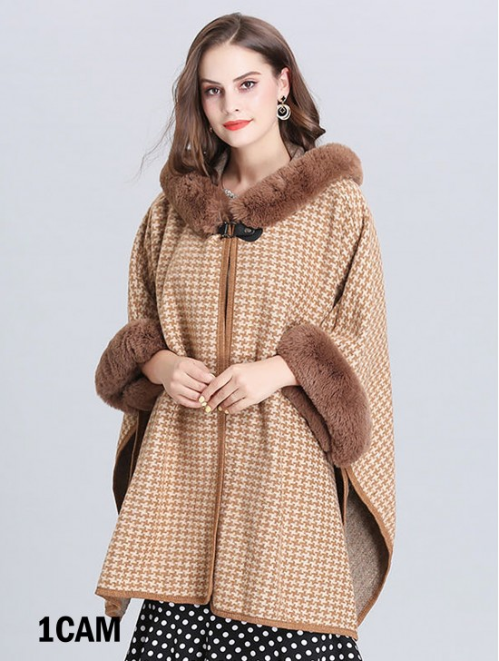 Houndstooth Patterned Cape W/ Hood & Pocket