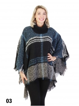 Loose Neck Poncho W/ Big Plaid