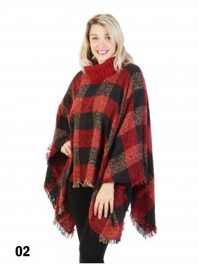 Loose Neck Poncho W/ Plaid