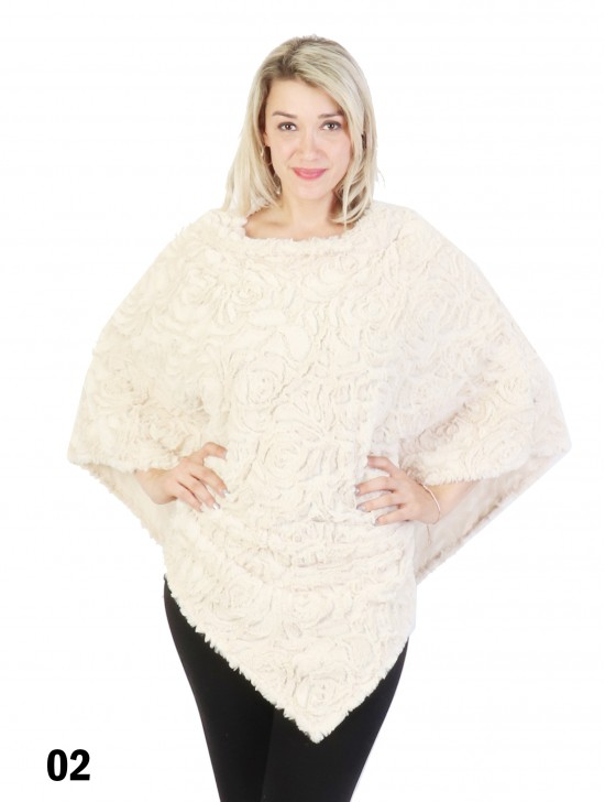 Rose Pattern Plush Poncho