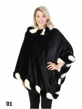 Premium Black/White Plush Fur Poncho
