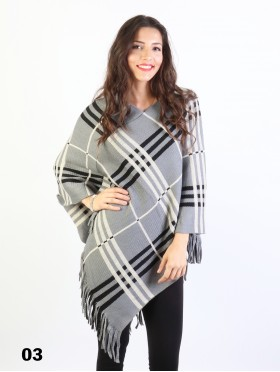 Plaid Poncho W/ Fringes