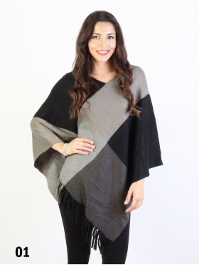 Color Block Poncho W/ Fringes
