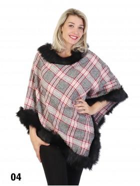 Plaid Poncho W/ Fur Collar & Trim