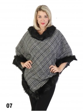 Plaid Poncho W/ Fur Collar & Trim