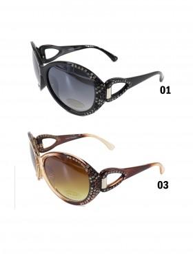 Oversize Sunglasses W/ Rhinestone Design