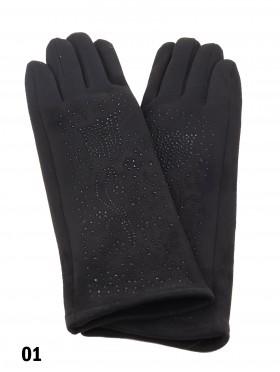 Chenille Feel Over The Wrist Glove W/ Rhinestone