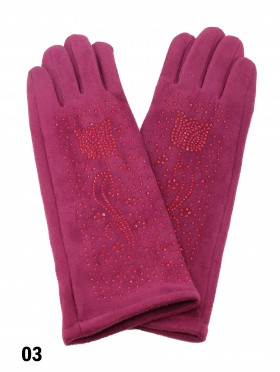 Chenille Feel Over The Wrist Glove W/ Rhinestone