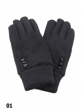 Velvet 3 Buttons Stretchy Wrist Touch Screen Glove