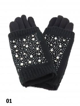 Double Layer Touch Screen Glove W/ Pearl Rhinestone